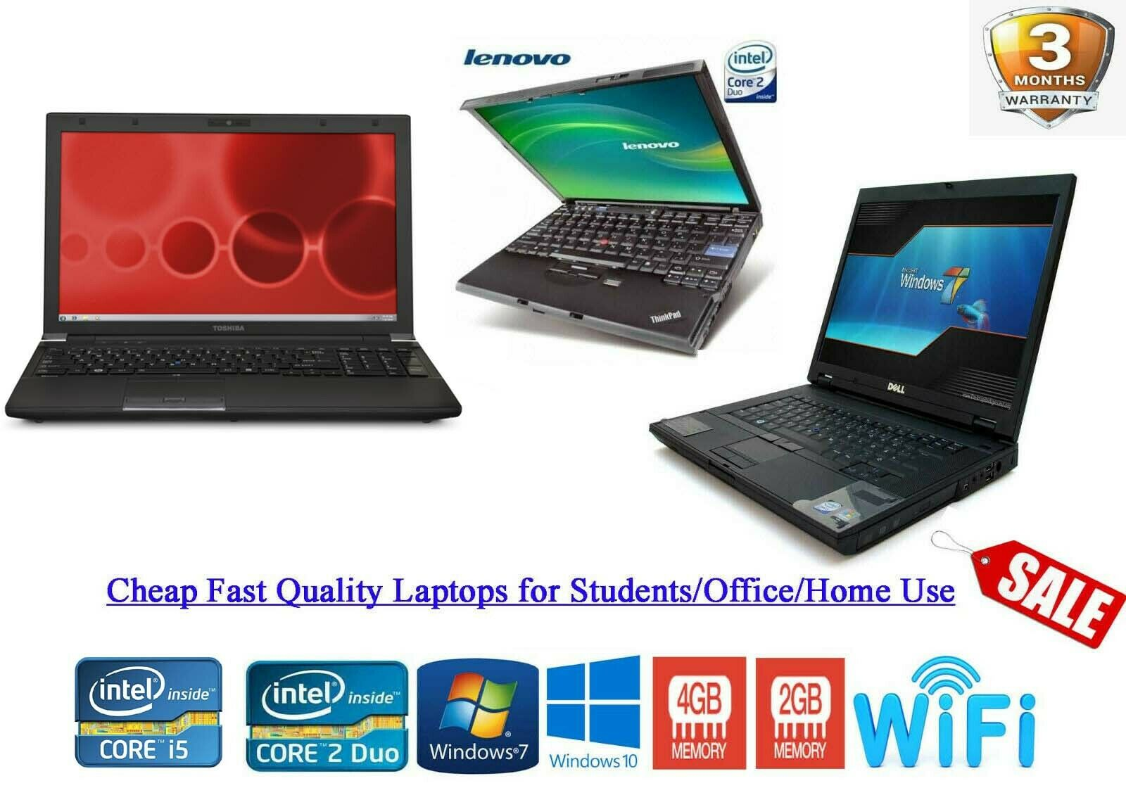 Laptop Windows - Cheap Fast Windows 10 LAPTOP i5 i3 Core 2 Duo 320GB 4GB RAM WIFI WARRANTY