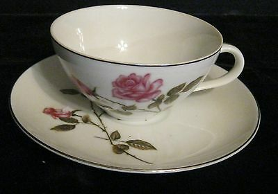 Worldwide Tea Rose - WORLD WIDE TEA ROSE TEA CUP & SAUCER MADE IN JAPAN BEAUTIFUL ROSES  SILVER TRIM