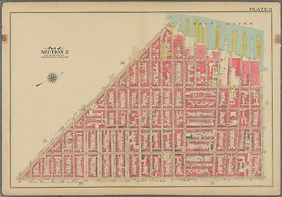 1908 SOUTH BROOKLYN NY COBBLE HILL CONGRATION BAITH ISRAEL ATLAS MAP