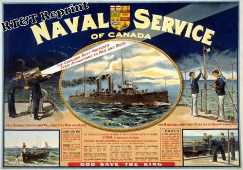 Historical Canadian Ottawa Naval Recruitment Poster HMCS Rainbow 1915c  11x17