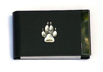 Wolf Paw Design Black Pu And Metal Business Or Credit Card Holder Gift 401