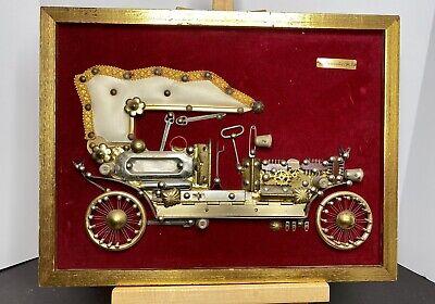Vintage Paulo Perez Steam Punk Mercedes Benz 1903 Art Piece on Red Velvet