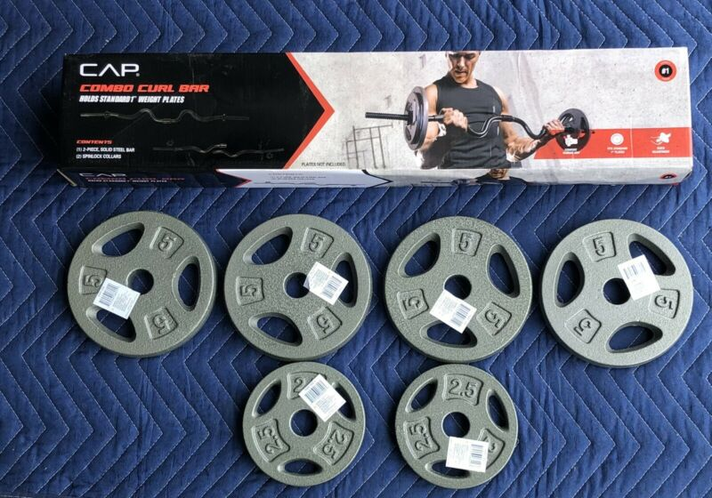CAP Combo Curl Bar Ez Bar SET W/ Lock Collars And 25 lbs Of Stand Weight Plates