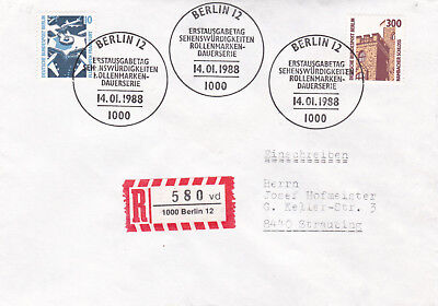 West Berlin 1988 Tourist Sites 10 and 300pfg FDC Registered Mail VGC