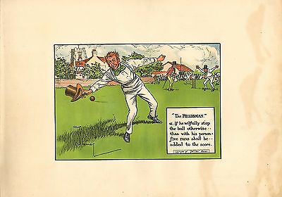 1905 laws of cricket  original colour print - the fieldsman