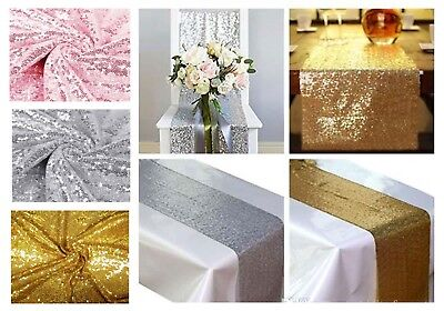 Sequin Tablecloth Gold Silver Rose Pink Glitter Table Covers Runners Napkins Red