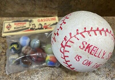 Vintage 1950s Skelly Oil Promo Marbles And Styrofoam Baseball