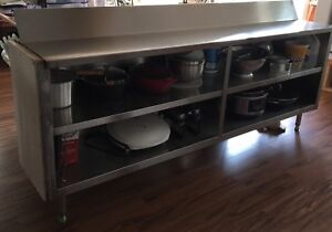 Restaurant Butcher Block Counter and Steel Shelving/counter