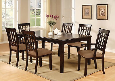 Kitchen Dining Room Dark Cherry Finish Dining Table w Leaf & Chairs 7pc Set Dark Cherry Finish Dining Table