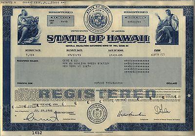 State of Hawaii Bond Stock Certificate
