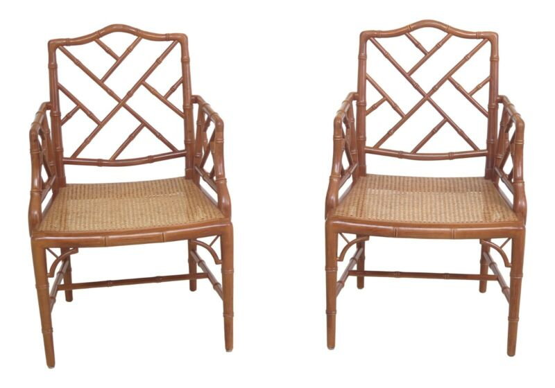 30677EC: Pair Faux Bamboo Style Cane Seat Arm Chairs