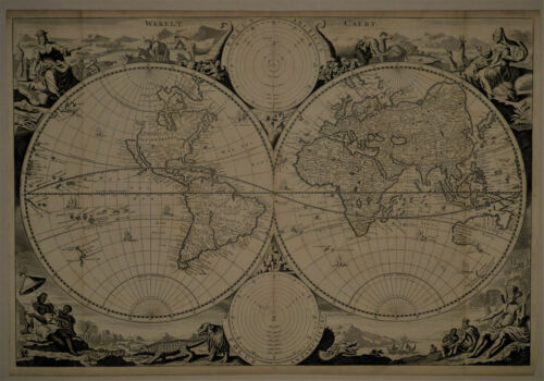 1710 Genuine Antique Ornate map of the World in E. & W. Hemispheres. Visscher