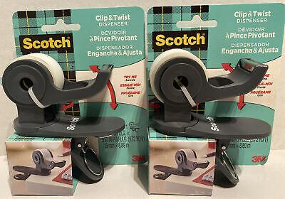 Lot Of 2 Scotch Clip Twist Desktop Tape Dispenser