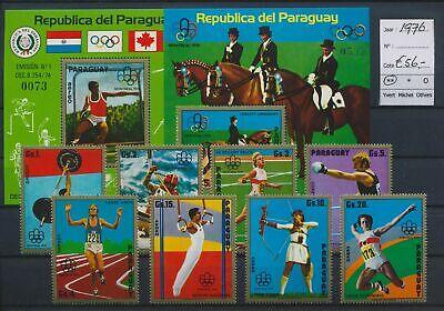 LO17129 Paraguay 1976 sports olympics fine lot MNH cv 56 EUR