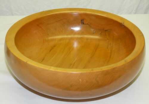 """Vintage Hand Made Swamp Maple 12 1/2"""" Round Turned Wood Bowl by Mark Tappen"""