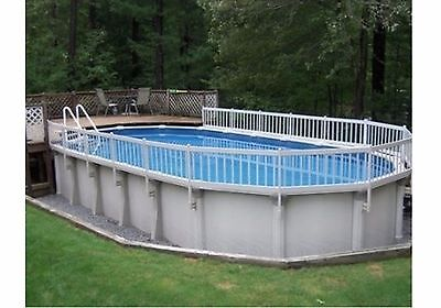 """VinylWorks Swimming Pool Resin Security Fence Base """"Kit A"""" 8 Sections"""" Color-White"""