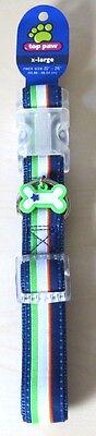 "TOP PAW Dog Collar XL 22""-26"" Blue, Green, White & Orange Stripes - BRAND NEW!"