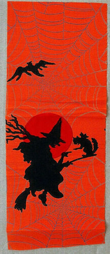 Vintage Dennison Halloween Crepe Paper Border Piece  Witches/Black Cat  1920s