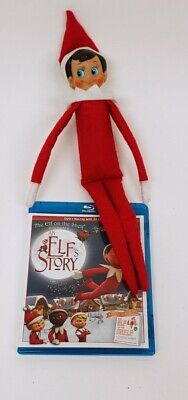 The ELF ON THE SHELF Boy Doll Brown Hair Blue Eyes + Blue Ray DVD An Elfs Story