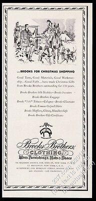 1947 Paul Brown Christmas theme horse dog foxhound art Brooks Brothers print ad