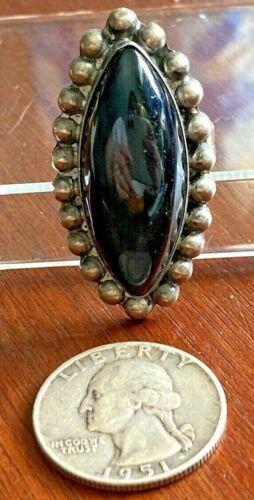 Vintage Southwestern Style Silver Ring Large Onyx Bead Edge Sz 8.25