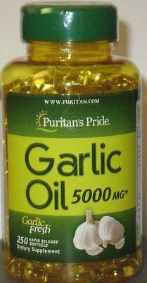 Puritans Pride Garlic Oil 5000 Mg 250 Softgels Cardio  Cholesterol Health Fresh