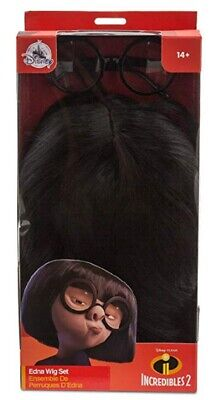 Disney Edna Mode Wig and Eyeglasses Set for Adults - Incredibles 2 - NEW