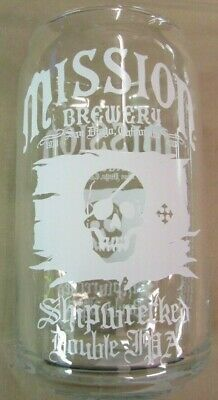 MISSION BREWERY SAN DIEGO, CA Shipwrecked Double IPA BAR GLASSES 16oz Glass Glasses San Diego