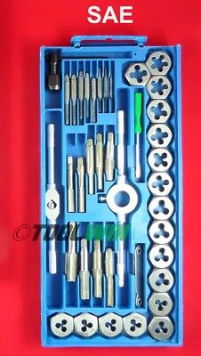 40 Pc Tap And Die Set Sae Standard Steel Bolt Screw Tool Kit With Case New