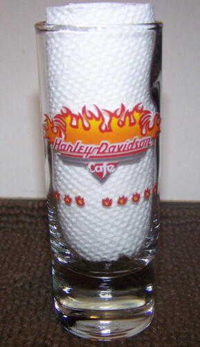 Harley Davidson Cafe Las Vegas  Shot Glass, Special Edition Flames 2 ounce, Mint