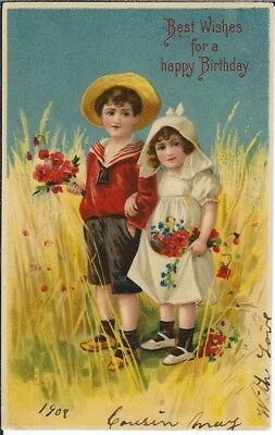 BA-450 Best Wishes Happy Birthday, Boy, Girl, 1901-1907 Undivided Back