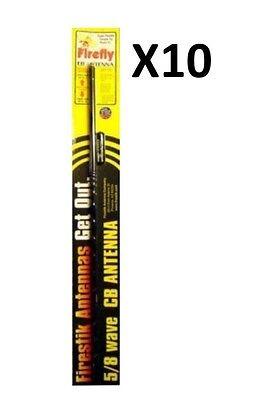 LOT OF10 FIRESTIK FL3B BLACK 3FT FIREFLY LIGHTWEIGHT CB HAM ANTENNA  USA MADE