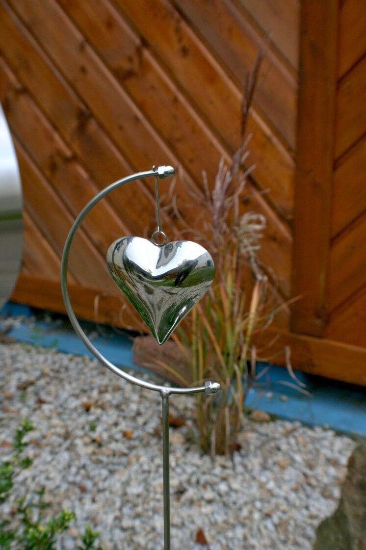 Edelstahl Herz Beetstecker Grabschmuck Terrasse Garten  Deko Gartenstecker K2