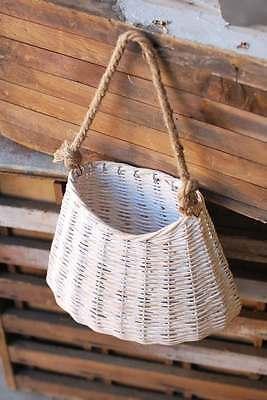 Hanging Willow White Washed Basket Door Decor Wall Pocket