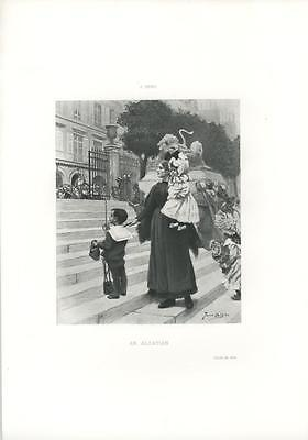 ANTIQUE MOTHER WOMAN CHILDREN BOY GIRL ALSATIAN ALSACE FRANCE COSTUME ART PRINT