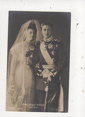 Prinz August Wilhelm & Braut 1908 RP Postcard Germany Royalty 041b