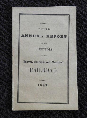 RARE 1849 BOSTON CONCORD & MONTREAL RAILWAY RAILROAD 3rd ANNUAL REPORT VERY NICE