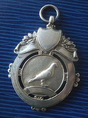 Vintage Serling Silver Fob Medal  - Racing Pigeon h/m 1947 / 1948 not engraved