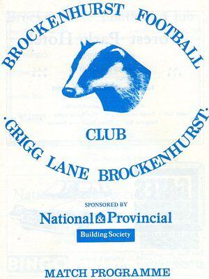 BROCKENHURST V WELLWORTHY 29/10/1986 wessex league PROGRAMME