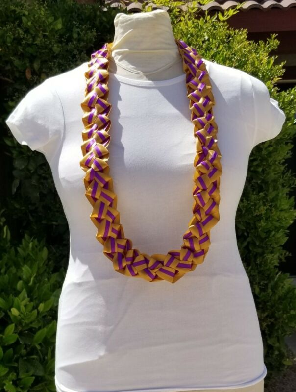 Purple and Gold Graduation Lei Ribbon Lei with 4 Ribbons Birthday Ready2Ship
