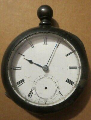 vintage Waltham key wind 18 sz Broadway model Pocket Watch Sterling Silver case