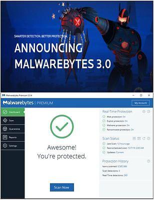 Malwarebytes Premium Anti-Malware Exploit Ransomware 3 PCs 1 Year, 3.0 Upgrade