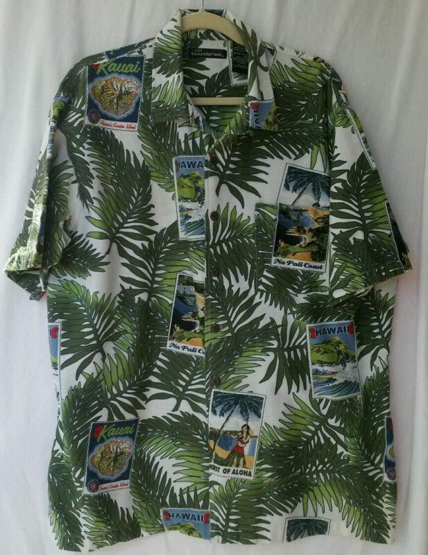 Mens NO BOUNDARIES Hawaiian Postcards Palms Button Front Hawaiian Camp Shirt XL