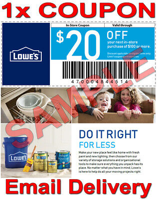 1× Lowes $20 OFF $100 FAST DELIVERY DISCOUNT INSTORECOUPONS ONLY 𝐄𝐗𝐏 𝟓/𝟏𝟓