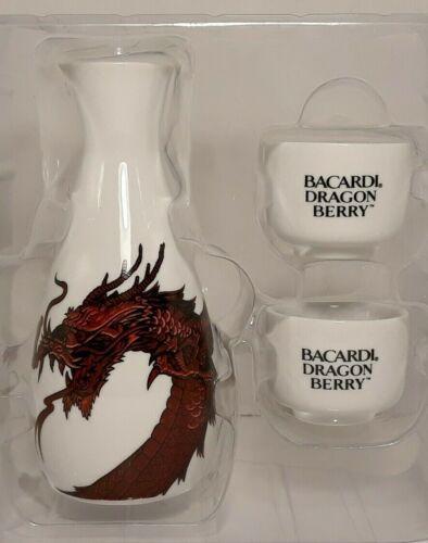 Bacardi Dragon Berry Sake Set 3 Piece, HTF Promo Item, Bar Mancave
