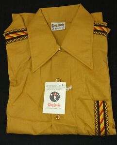 King Louie Mens Vintage 1970s Tan/Brown Bowling Shirt Size SMALL PBA Approved!