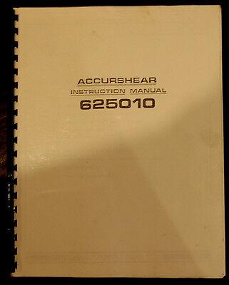 Accurshear Model 625010 14 X 10 Shear Instructions Manual