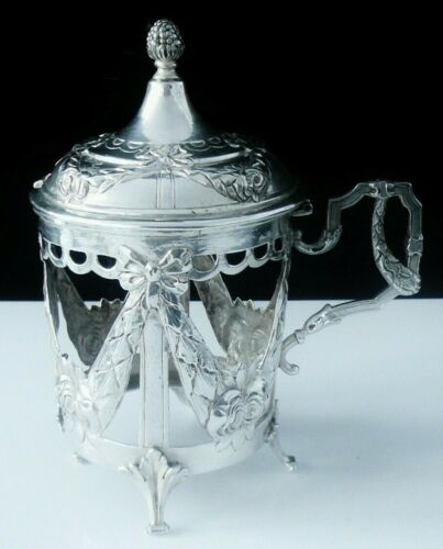 Decorative Antique Sterling Silver Mustard Pot, Theodor Hartmann 1901