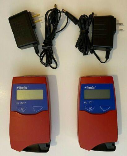 *Lot of 2* HemoCue  HB 201+ Hemoglobin Analyzer w/ power supplies