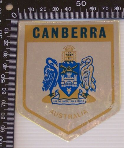 VINTAGE CANBERRA COAT OF ARMS AUSTRALIA SOUVENIR PROMO FOIL STICKER
